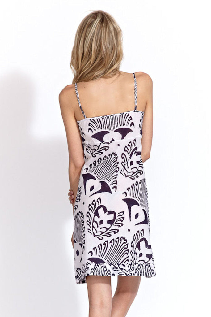 Slip Dress in Navy Ikat