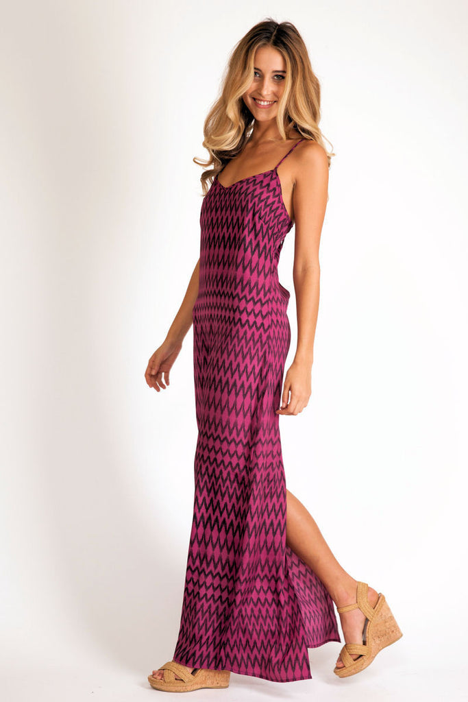 Slip maxi dress in purple ziggy