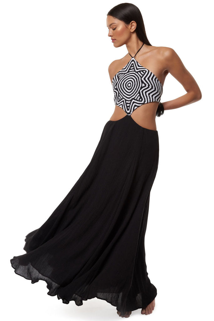 Starbasket cut out dress in black