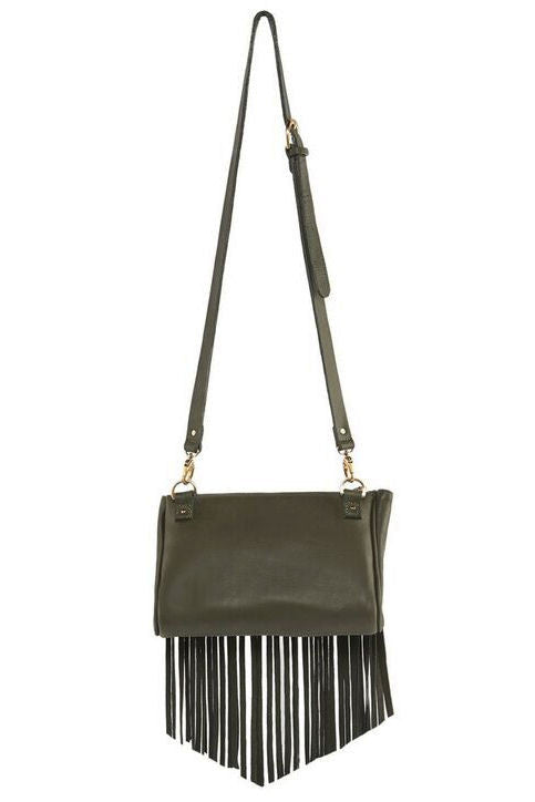 Talitha suede clutch/crossbody bag in olive