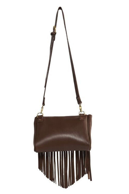 Talitha suede clutch/crossbody bag in tobacco