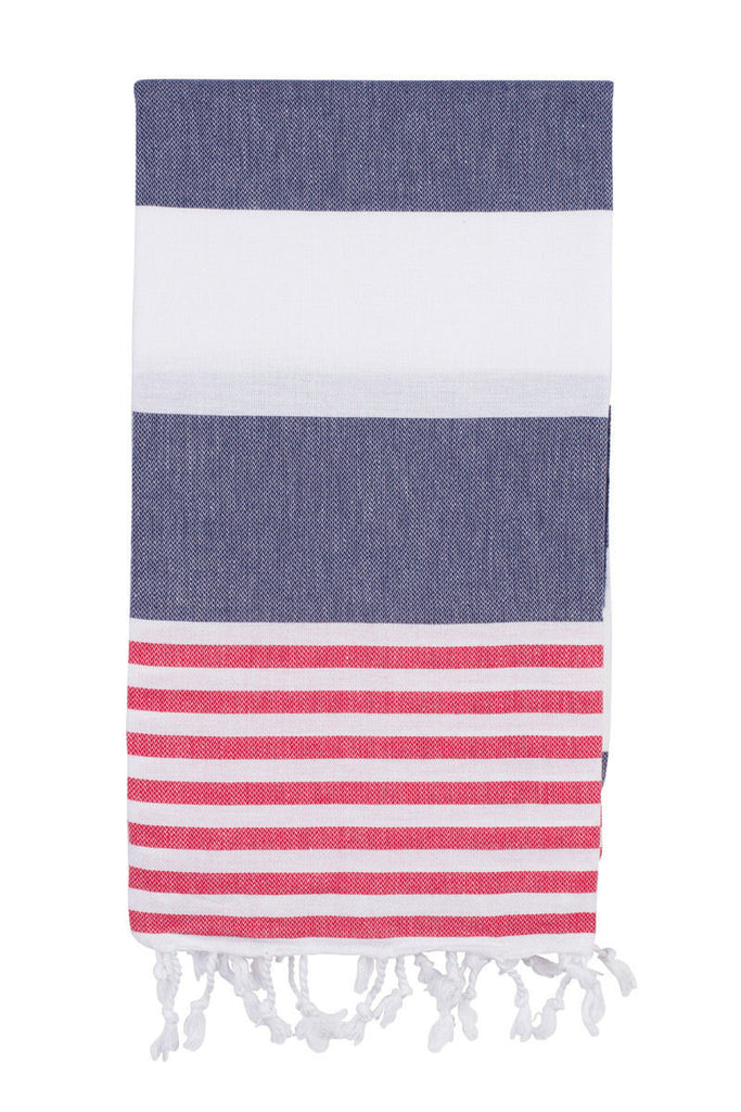 Turkish fouta towel in navy/red stripe