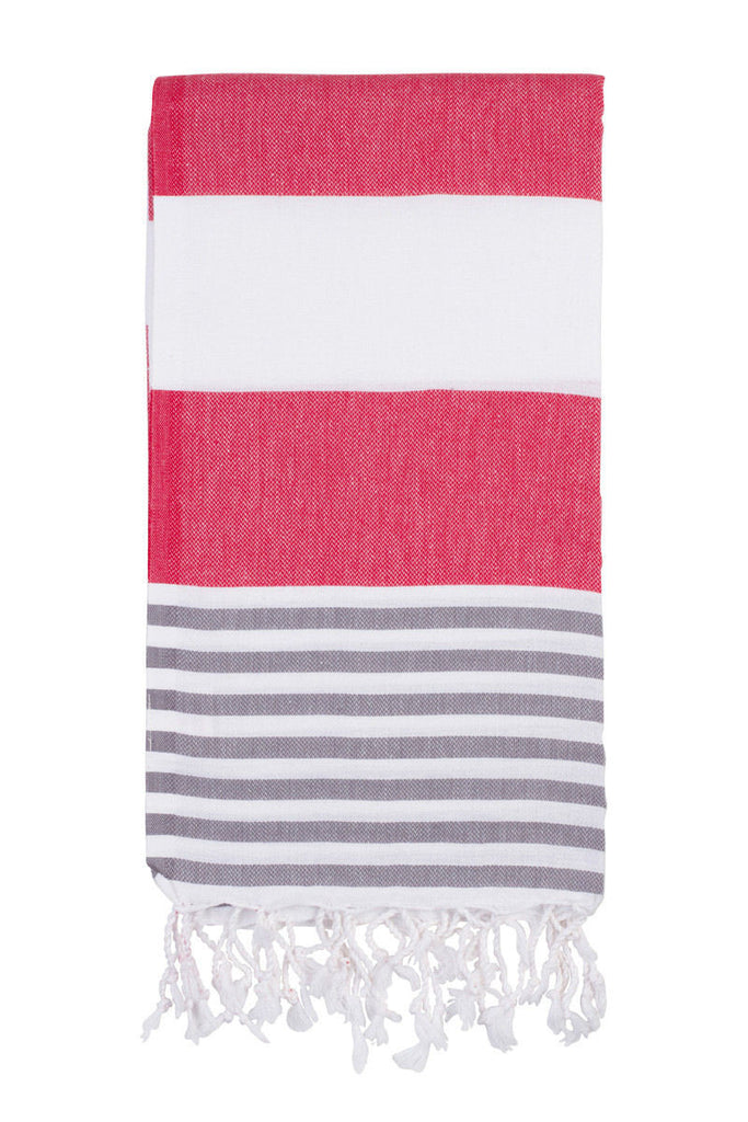 Turkish towel in red/grey stripe