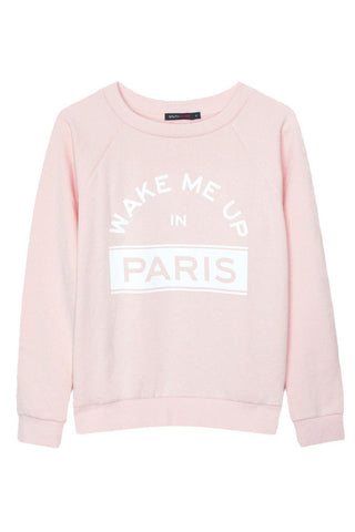 Wake Me Up in Paris sweatshirt in pink