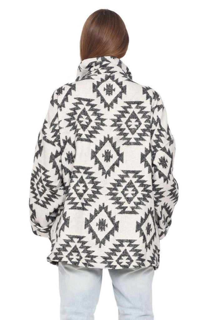 Wrap jacket in cream/black jacquard