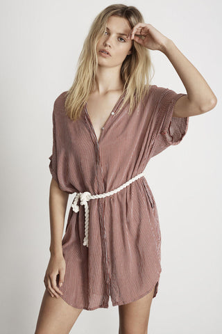 Avalon Shirt Dress in amber stripe