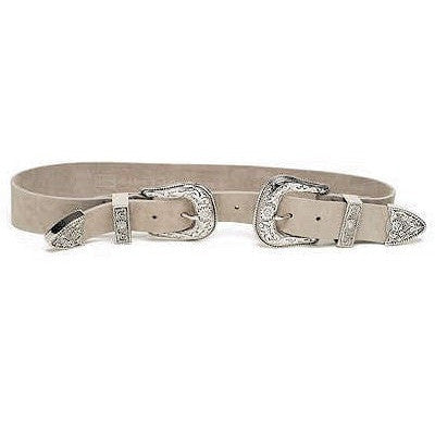 Bri Bri nubuck belt in light taupe/silver