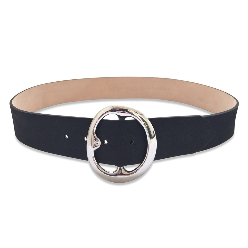 Bell bottom nubuck belt in black/silver
