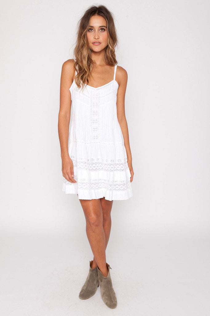 Mini western lace dress in white