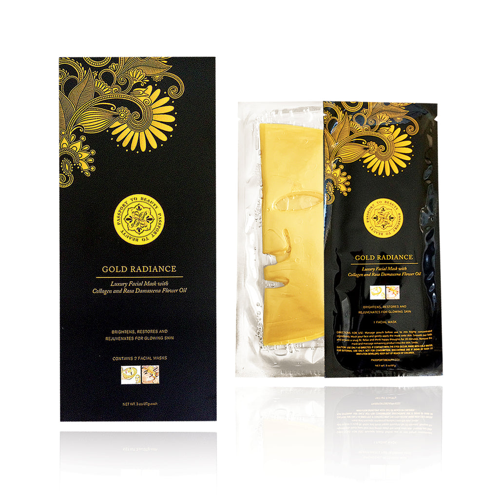 Gold Radiance Luxury Facial Mask with Collagen and Rose Oil - Shop Passport To Beauty