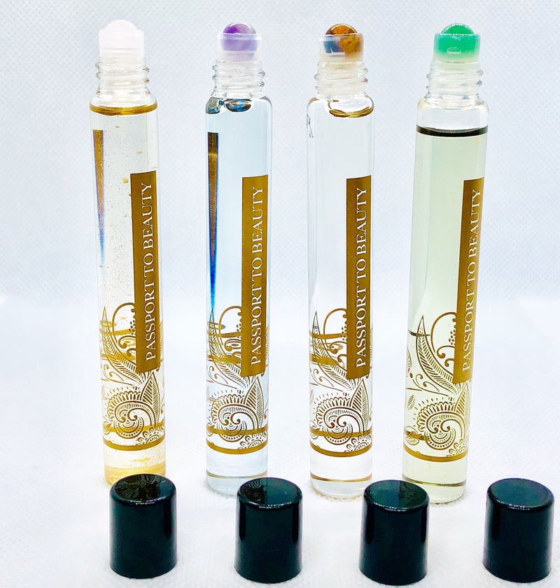 Gemstone Beauty Power Oils Collection - Jade Amethyst Rose Quartz Tiger Eye - Shop Passport To Beauty
