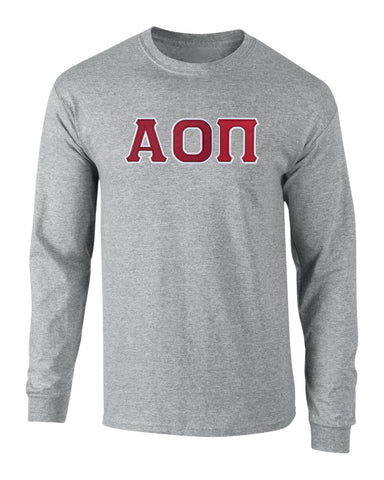 Alpha Omicron Pi Twill Letter Long Sleeve Tee