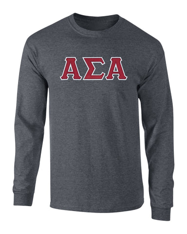 Alpha Sigma Alpha Twill Letter Long Sleeve Tee