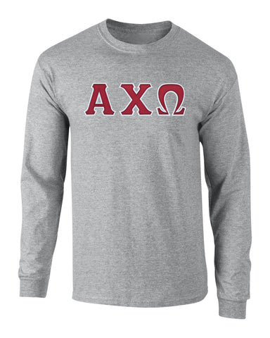 Alpha Chi Omega Twill Letter Long Sleeve Tee