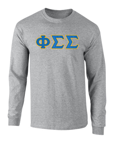 Phi Sigma Sigma Twill Letter Long Sleeve Tee