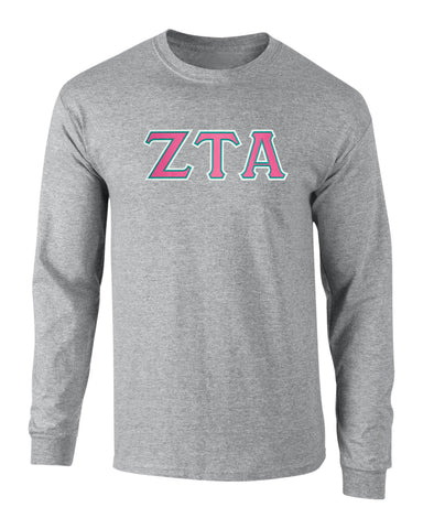 Zeta Tau Alpha Twill Letter Long Sleeve Tee