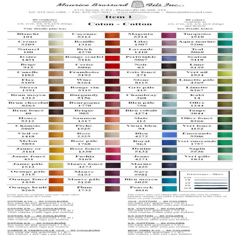 Brassard Unmercerized Cotton Sample Color Card