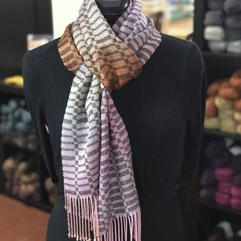 Handwoven Scarf - Satin Blocks #3