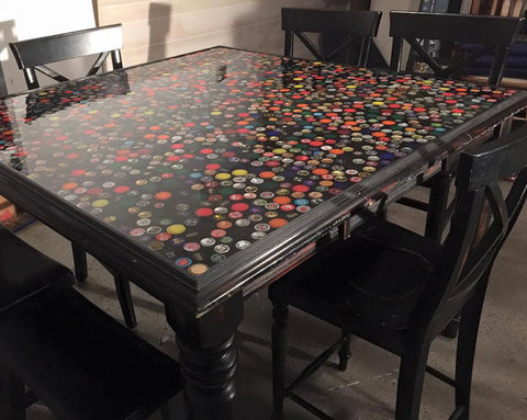 Bottle Cap Pub Table for your Basement