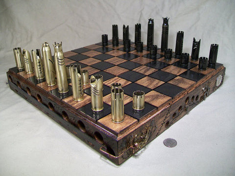 Shell Casing Chess Set- Game Room