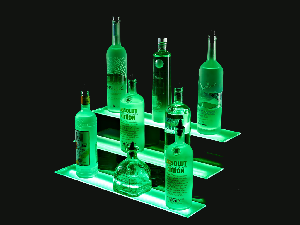 "2"" Illuminated 3 Tier LED Bottle Display"