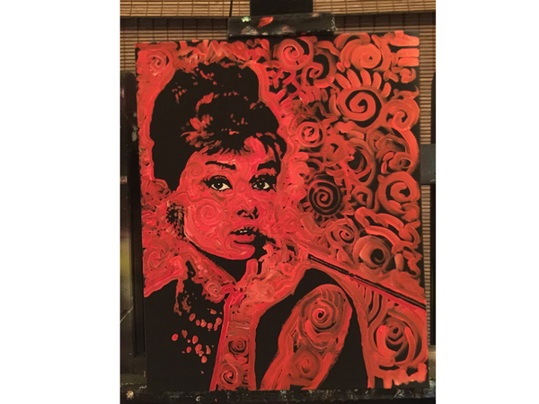 Matt Pecson: Audrey Hepburn Canvas Oil Painting