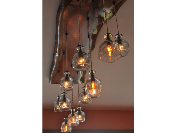 Moonshine Lamp: Big Sur Wood and Glass Chandelier