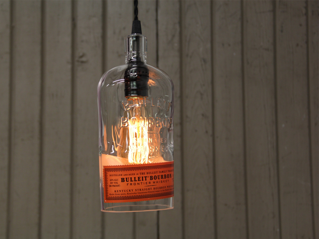 ReWicked Candle: Bulleit Bottle Pendant Light