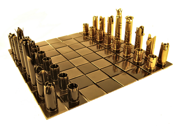 Olde World Collectibles and Creations: 50 Caliber Bullet Chess Set with Steel Board