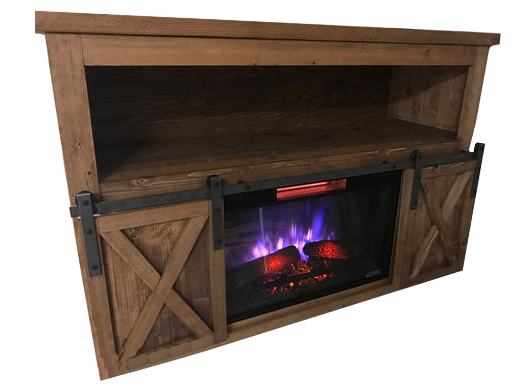 Look at this beautifully designed fireplace TV stand with sliding barn doors. This is a custom handmade piece of rustic furniture perfect for any basement.