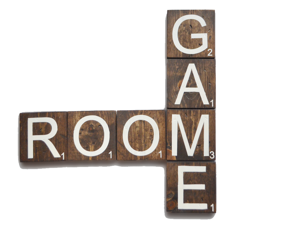 game room wooden scrabble letters