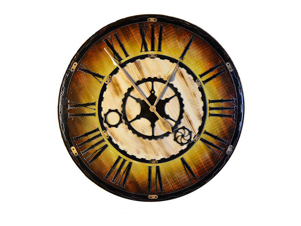 Hex Head: Vintage Industrial Sunburst Clock