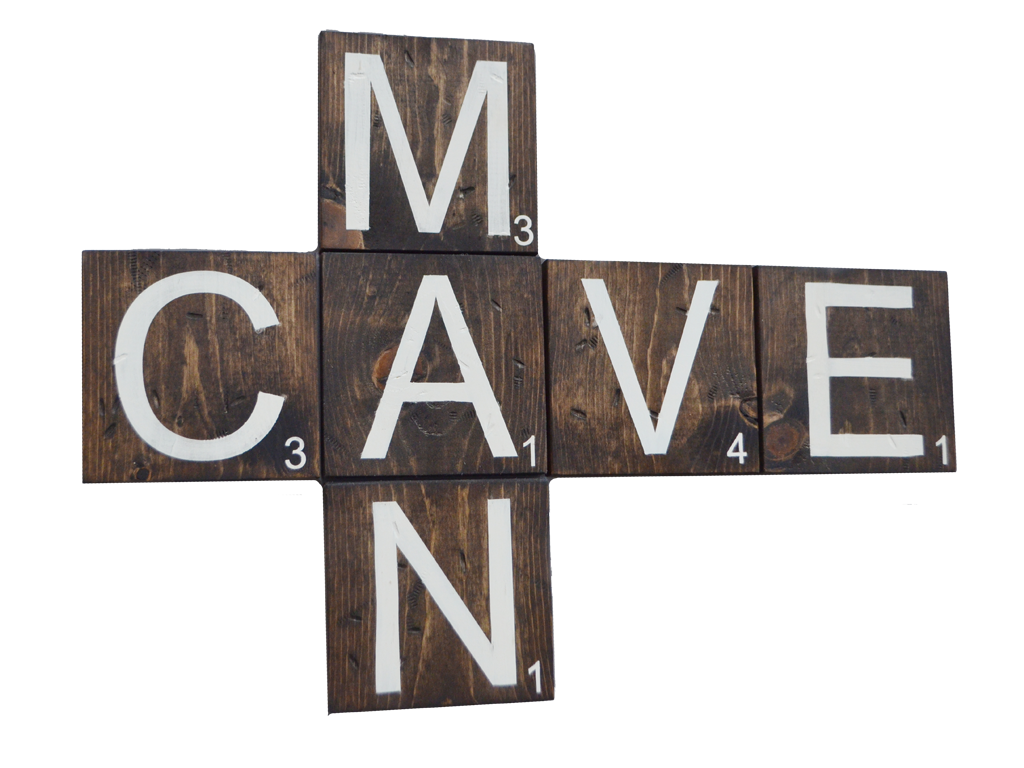 Man cave wooden scrabble letters delta 13 for Large letter scrabble game