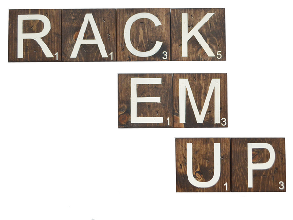 Once Wood: Rack Em Up Wooden Scrabble Letters