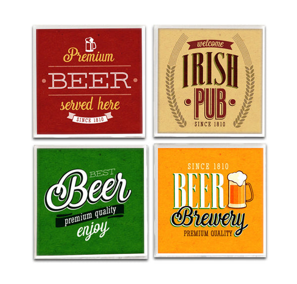 Woodland Crew: Vintage Beer Label Drink Coasters