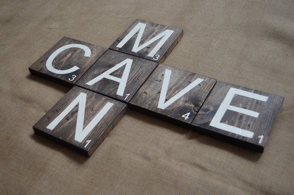 Once Wood: Man Cave Wooden Scrabble Letters