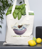Baby Finch in Knitted Nest Tote Bag (+$25 donation)