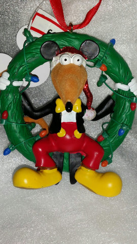 Rizzo with Mickey Ears in Wreath Disney Parks Holiday Ornament