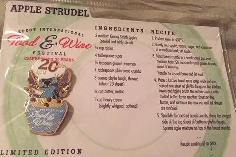 Stitch Epcot Food & Wine Festival Limited Edition Recipe Card Pin