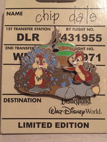 Baggage Tag- Chip n Dale Ride Splash Mountain Limited Edition Pin