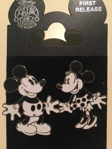 Black & White Vintage Mickey and Minnie Pin Set