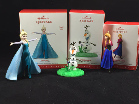 Frozen Holiday Ornaments (Hallmark) Elsa -singing, Anna, Olaf