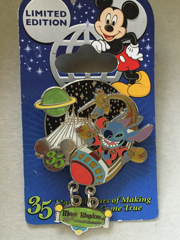 35 Magical Years: Stitch Blasts off on Space Mountain Limited Edition pin