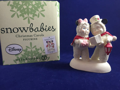 Minnie & Mickey Christmas Carols Snowbabies Figurine [free ship]