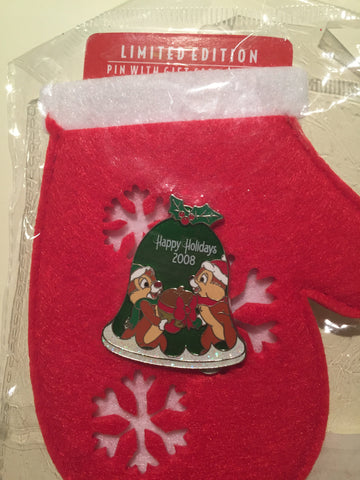 Happy Holidays Chip n Dale Mittens Limited Edition Pin
