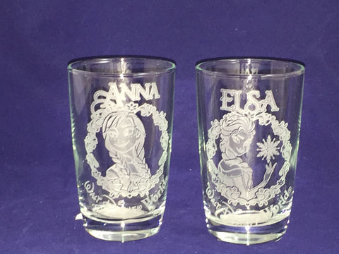 Elsa & Anna Frozen Walt Disney World Juice Glasses (Arribas Bros)
