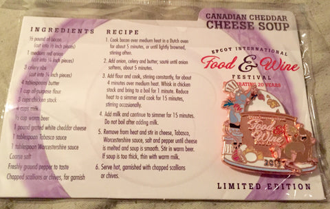 Remy (Ratatouille) Epcot Food & Wine Festival Limited Edition Recipe Card Pin