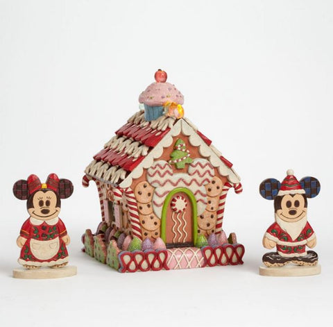 Mickey & Minnie Gingerbread House Jim Shore Holiday Figure