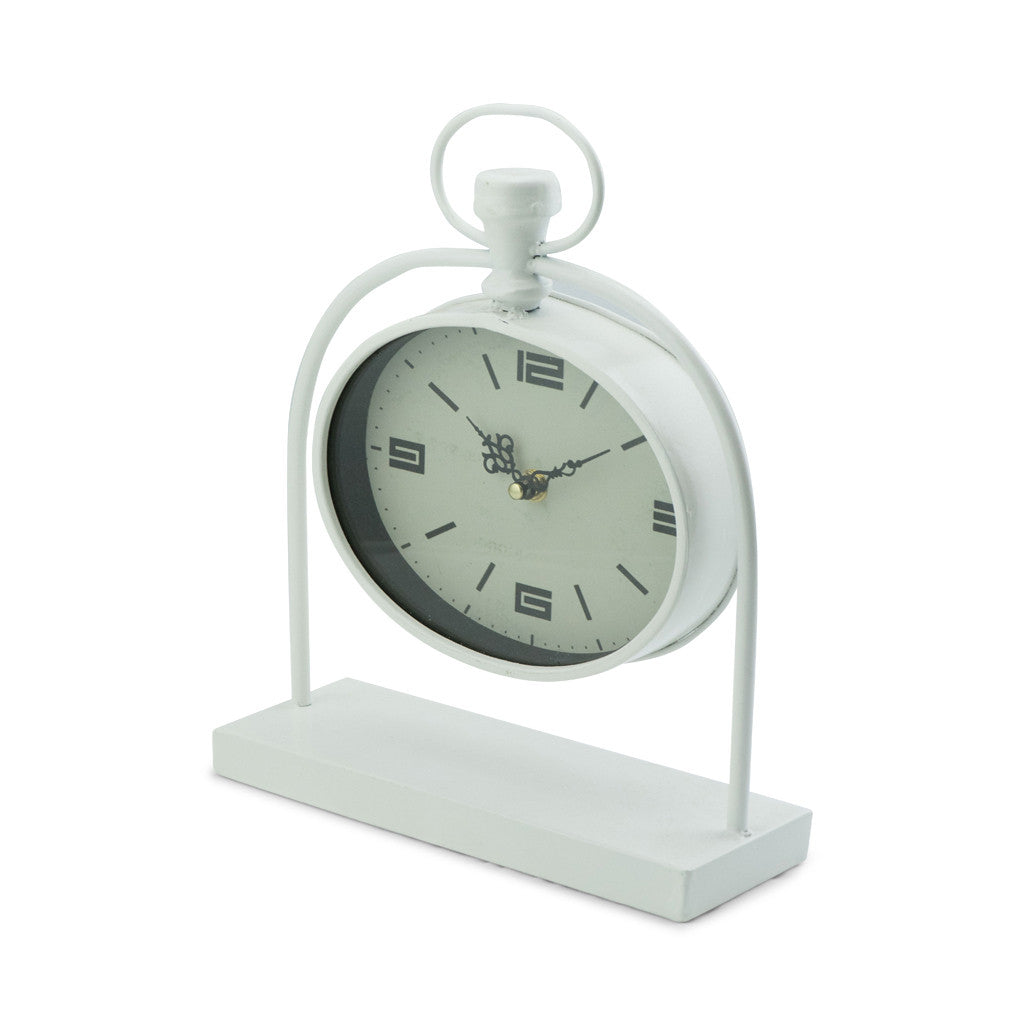 Bassett White Metal Oval Table Clock - Table Clocks - The Bowery - 2