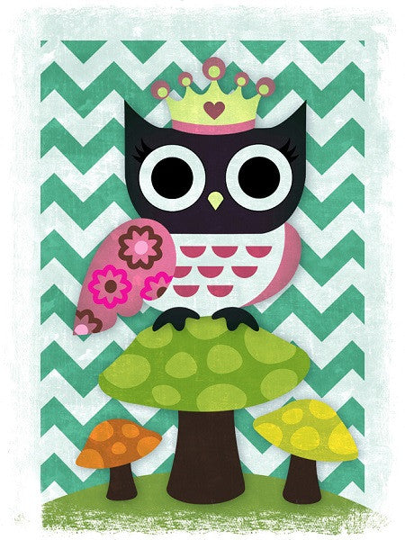 Canvas Print 'Crowned Owl On Mushroom' 30cm x 40cm - Canvas Prints - The Bowery